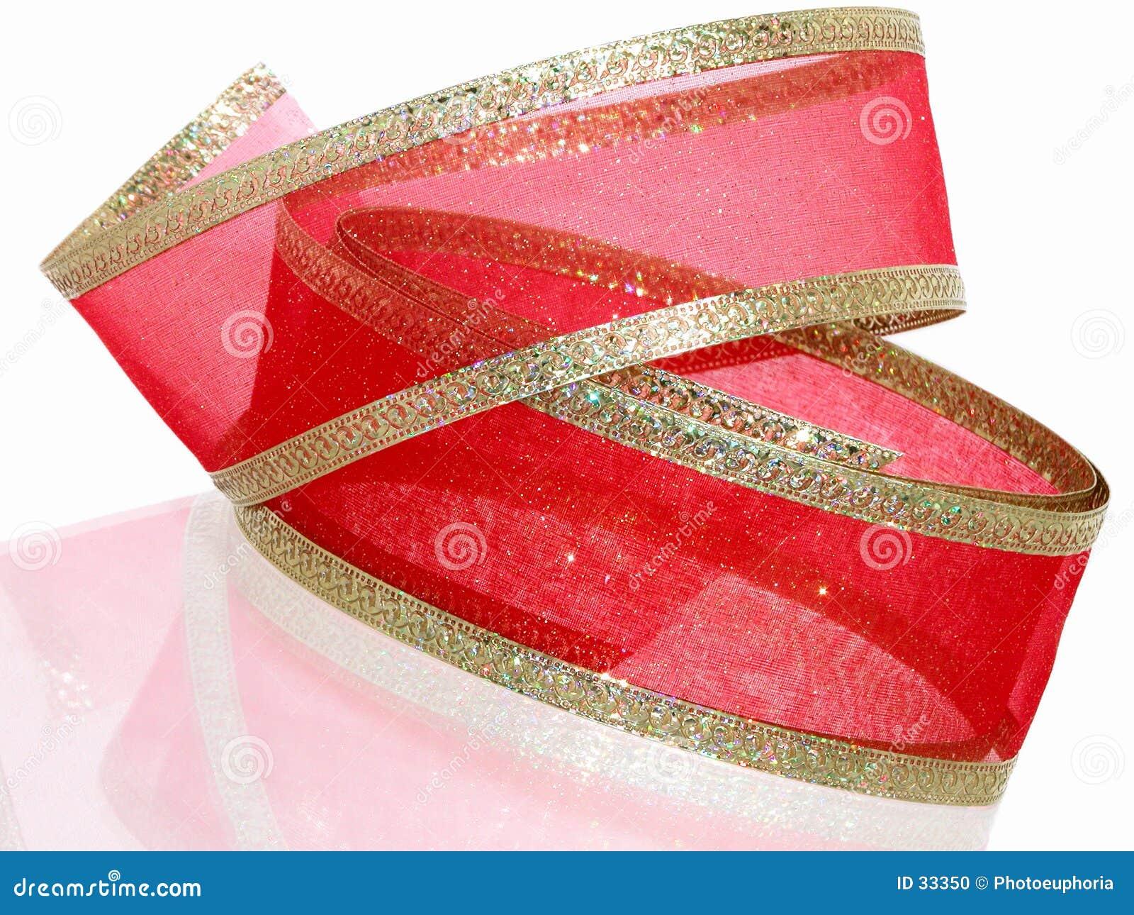 Fita decorativa do vermelho e do ouro