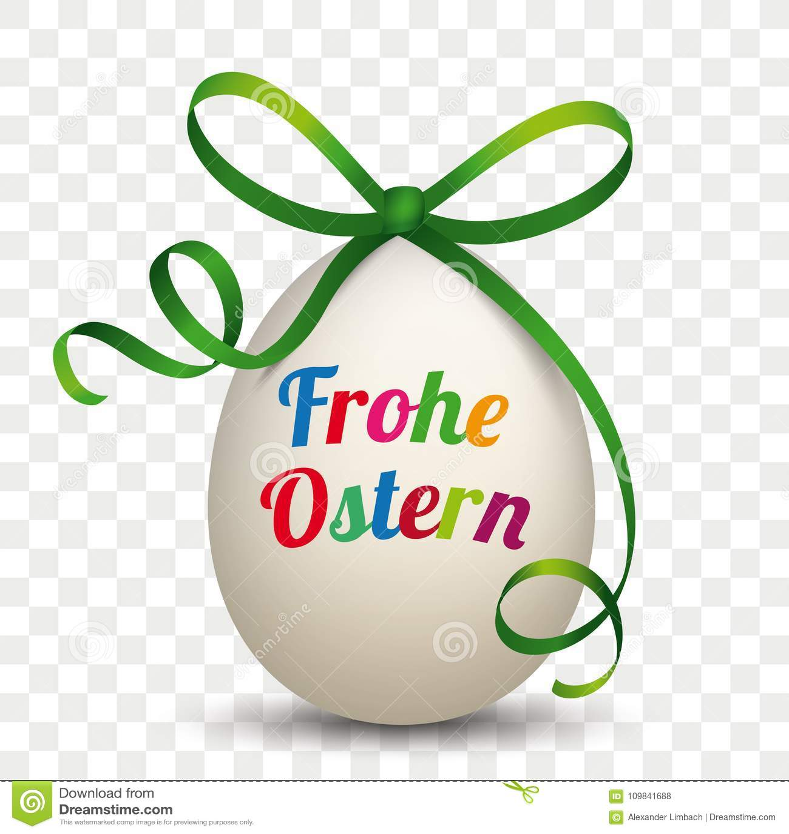 Fita natural Frohe Ostern do verde do ovo transparente