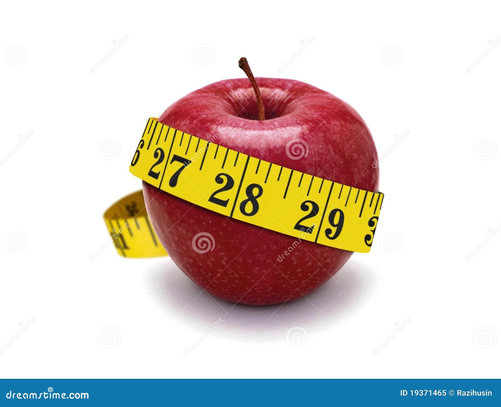 Fita vermelha da maçã e da medida