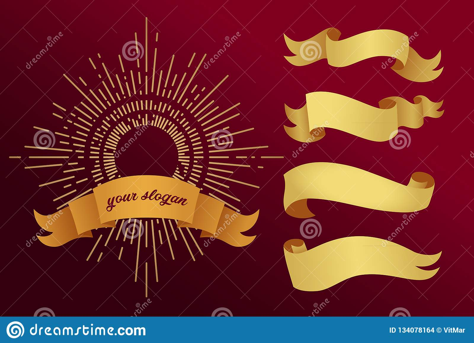 Fitas douradas em um fundo vermelho Ilustração do vetor