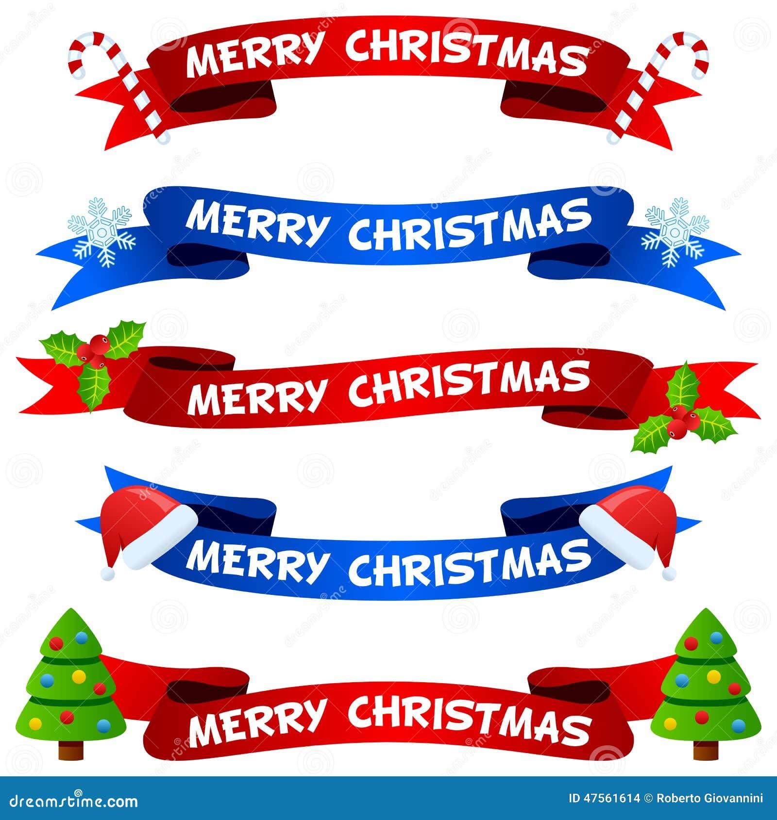 Fitas ou bandeiras do Feliz Natal ajustadas