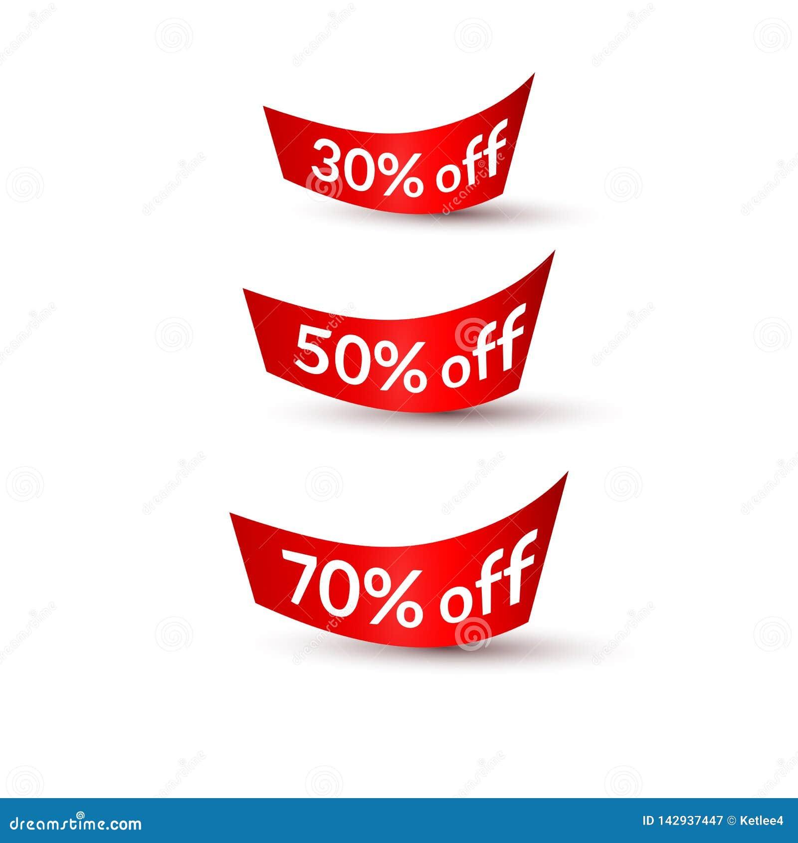 Fitas vermelhas com texto 30  50  70  fora fundo branco no elemento isolado do projeto de anunciar a promoção dos cartazes das ba