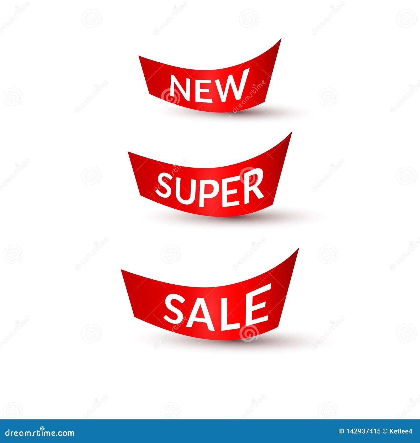 Fitas vermelhas com venda super nova do texto fundo branco no elemento isolado do projeto de anunciar o grupo da promo??o A dos c