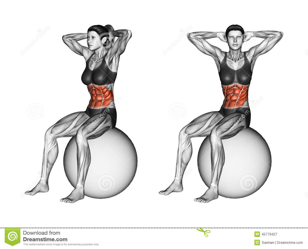 Fitball exercising. Turns torso sitting on fitball. Female
