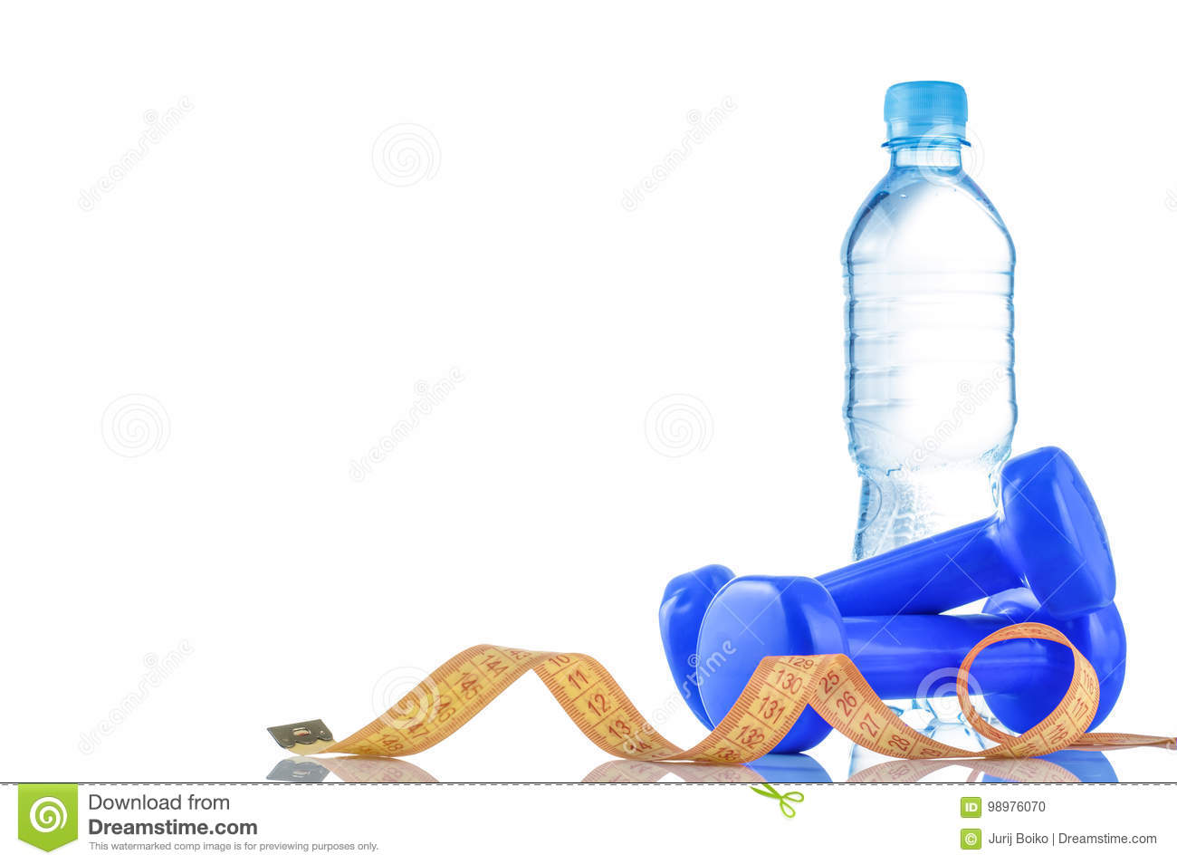 Fitnes Symbols Red Dumbbells A Bottle Of Water And A Towel The