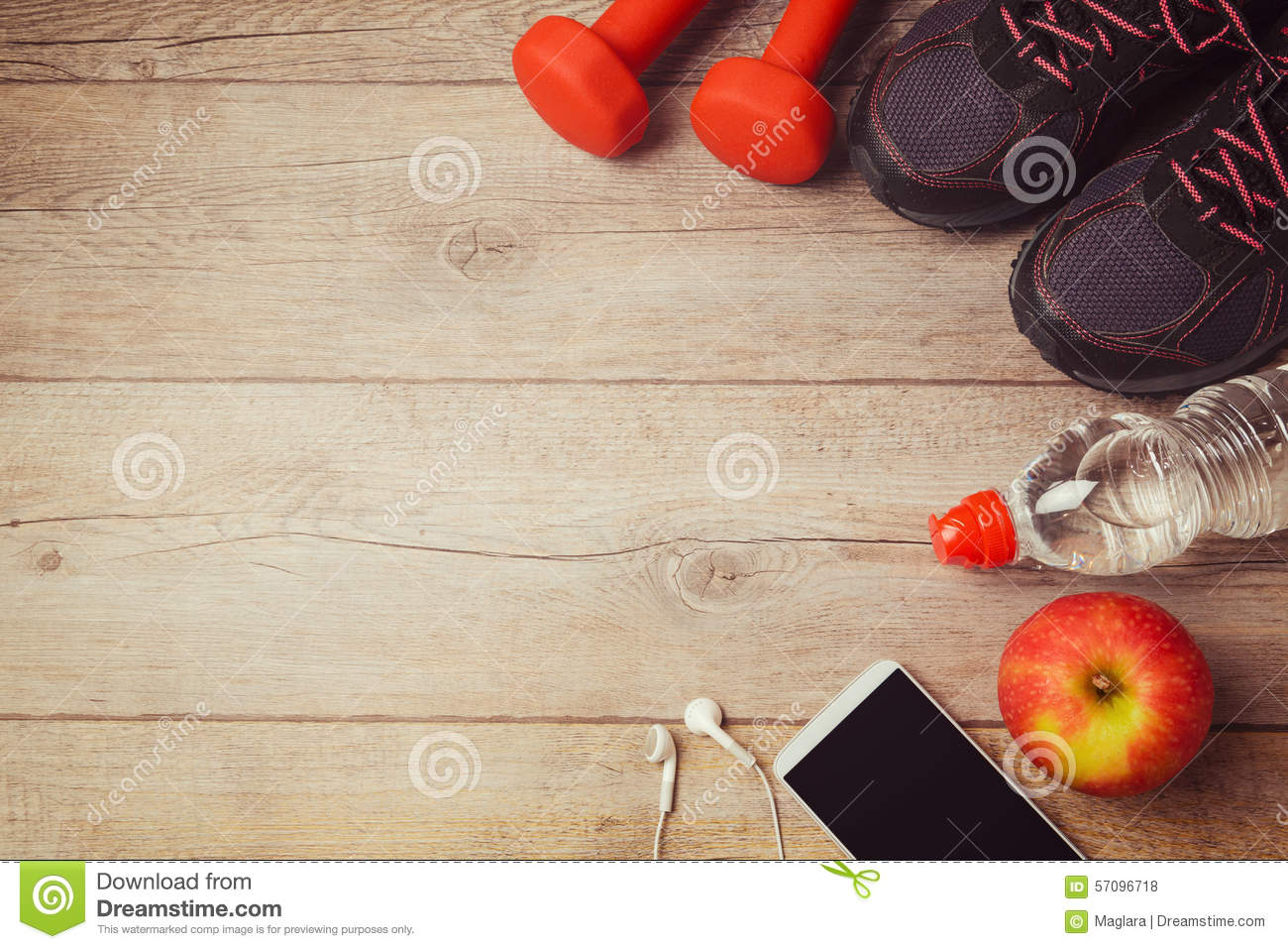 Fitness Background With Bottle Of Water Dumbbells And