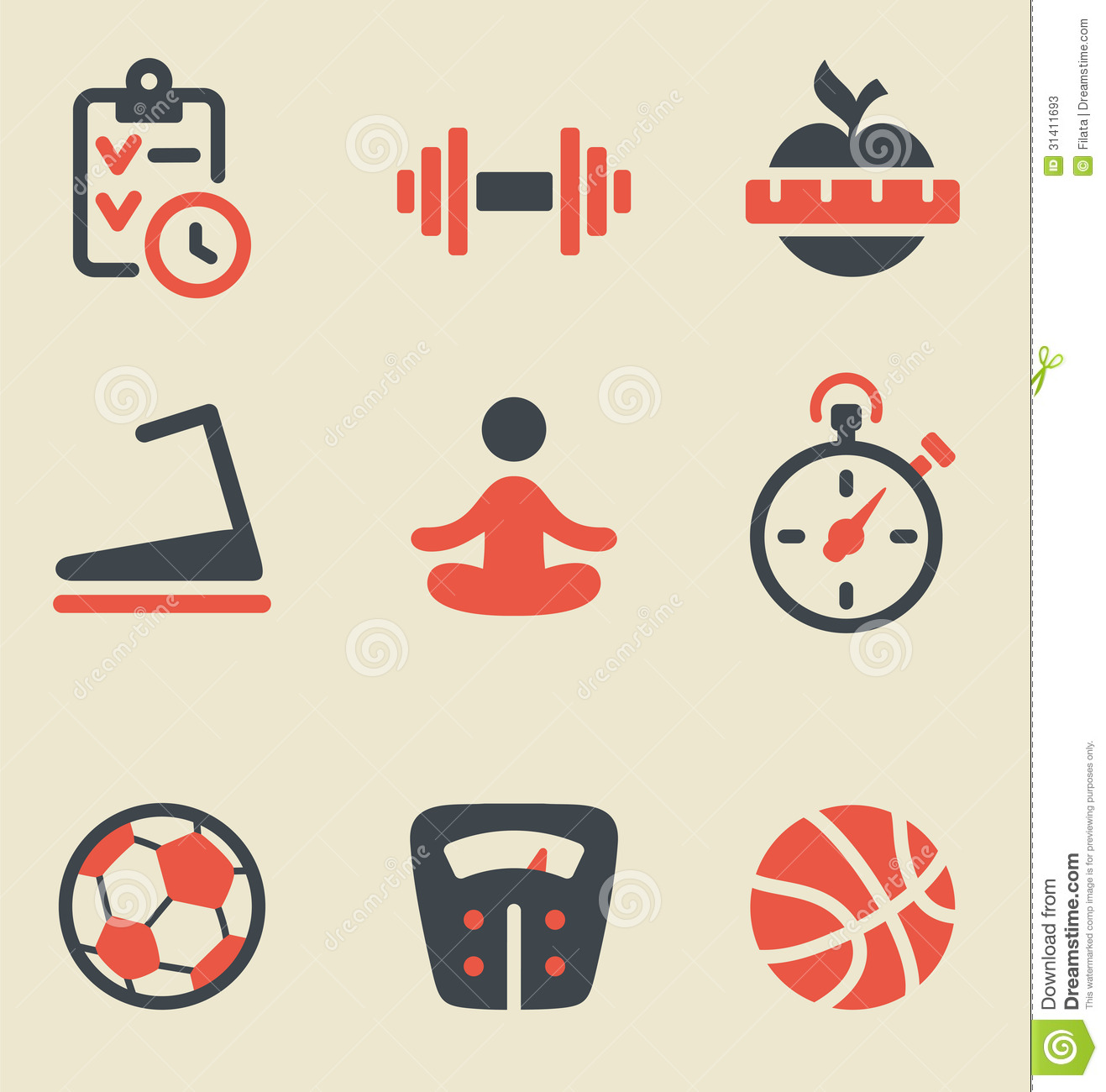 Fitness Black And Red Icon Set Stock Photos Image 31411693