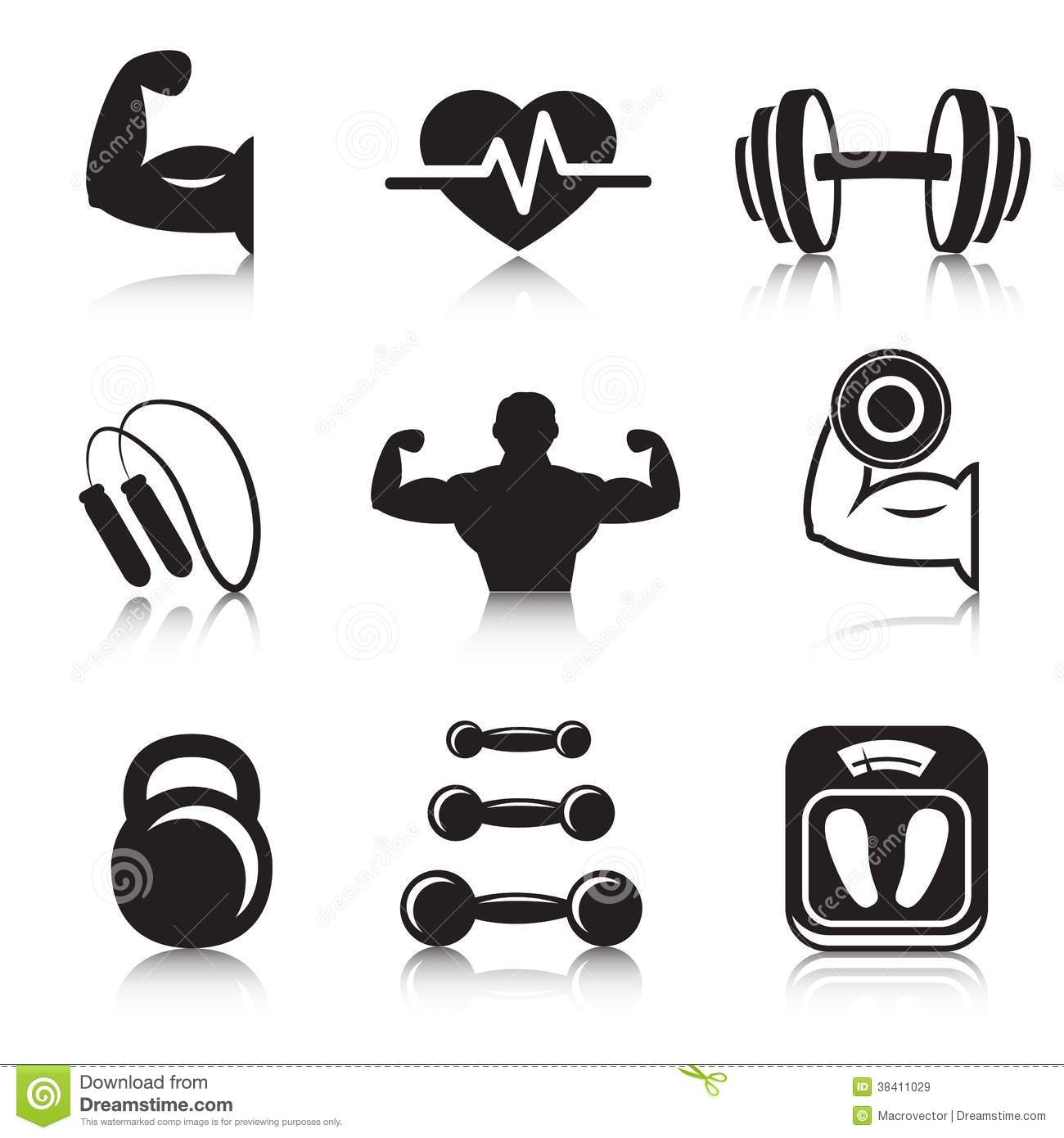 Fitness Bodybuilding Sport Icons Set Royalty Free Stock