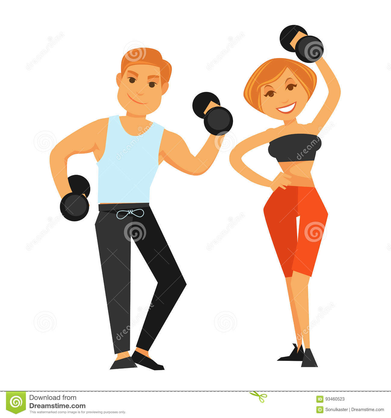 fitness boy and girl doing exercises with dumbbells stock vector