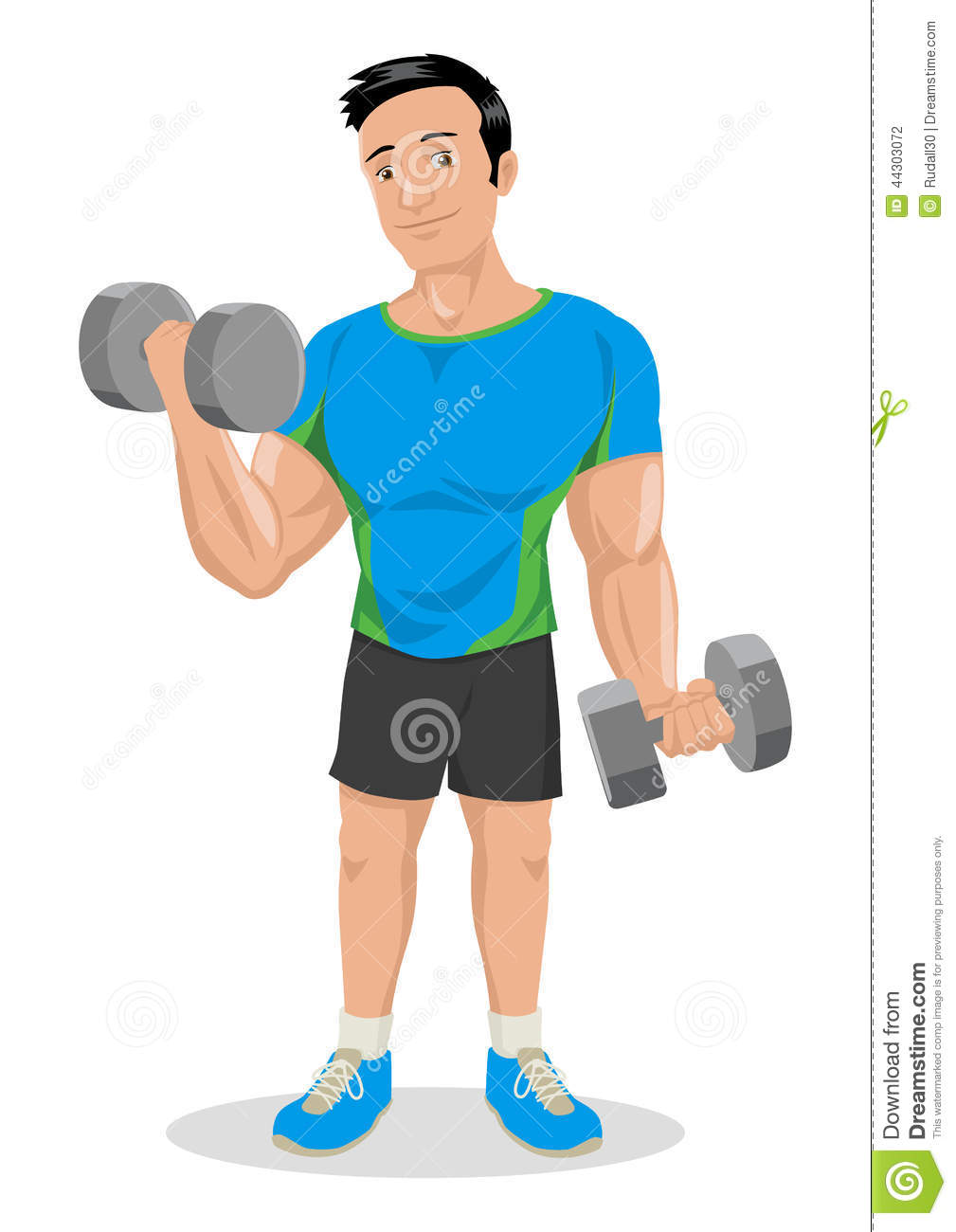 Cartoon illustration of a muscular male figure exercising with ...