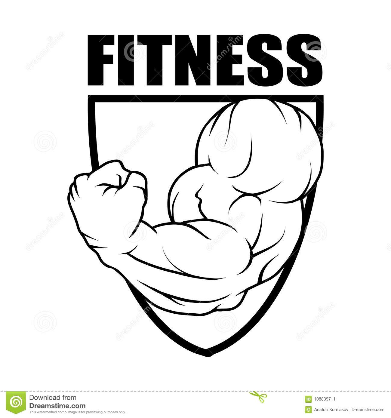 Fitness Center Gym Emblem Fitness Logo Stock Vector Illustration Of Bodybuilding Drawn 108839711