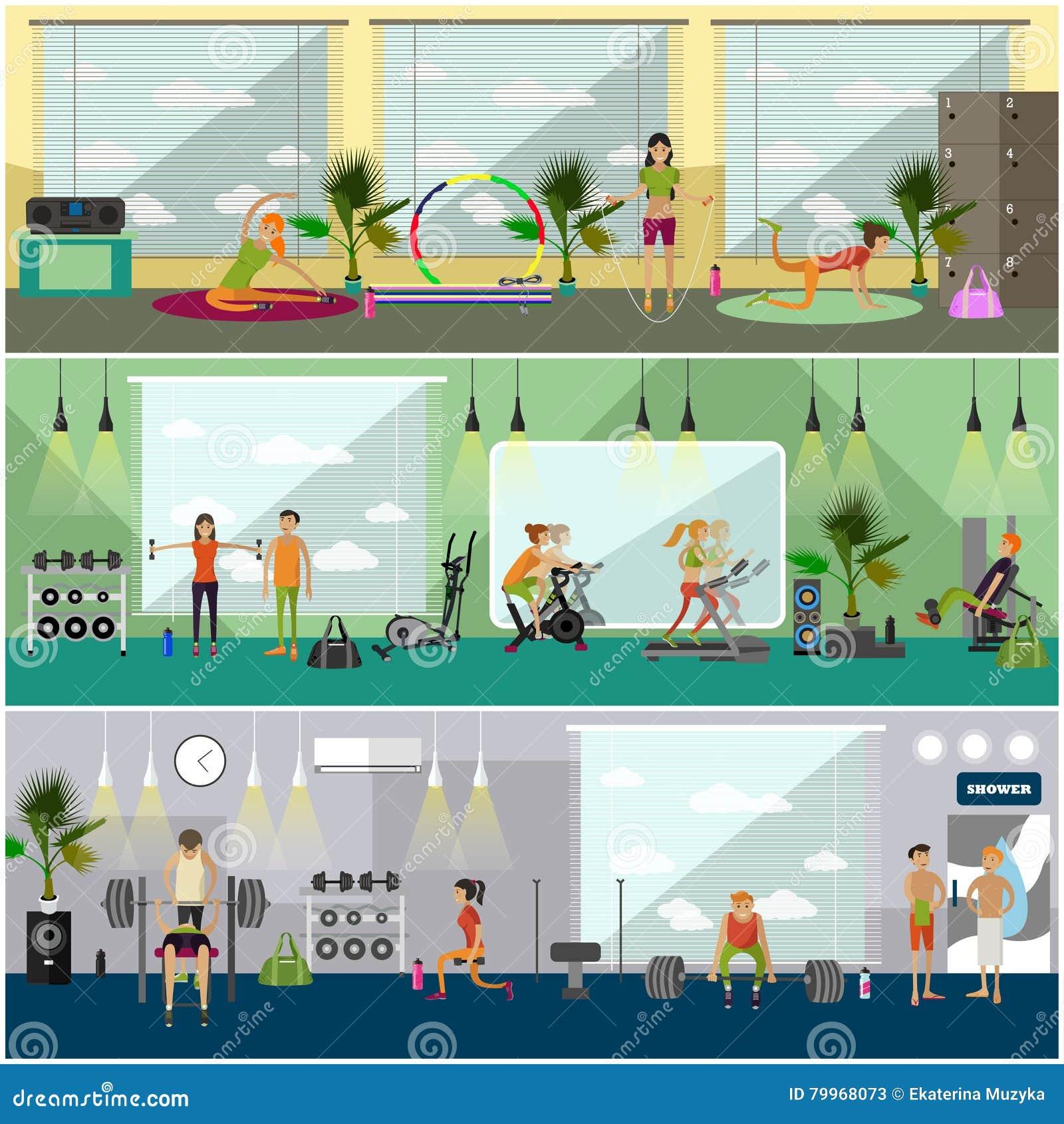 Fitness center interior vector illustration people work