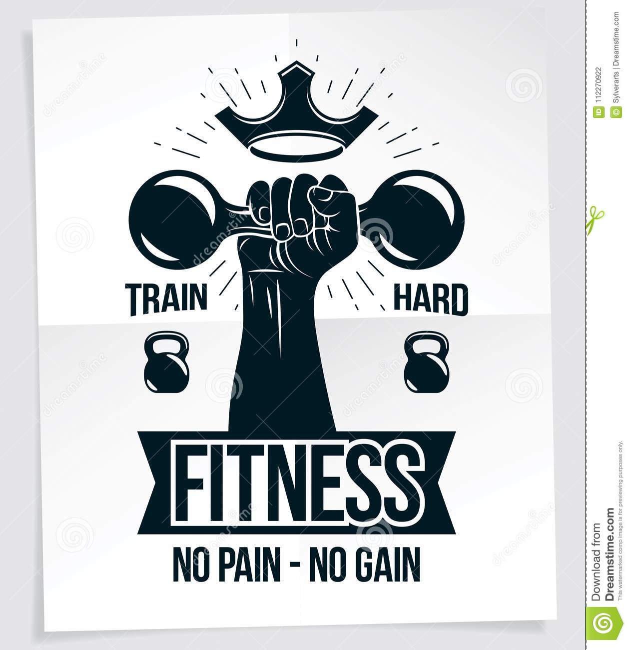 Fitness Club Advertising Poster. Vector Composition Of ...