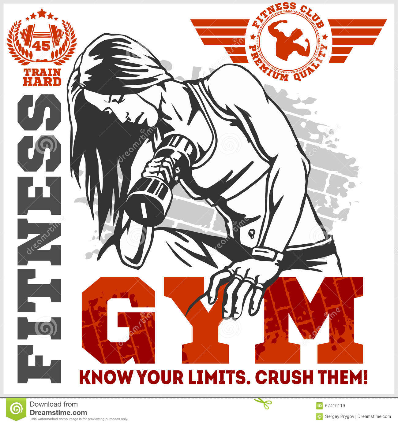 Fitness Club And Gym Label. Athletic Woman With Dumbbells. Stock ... for Bodybuilding Poster Design  131fsj