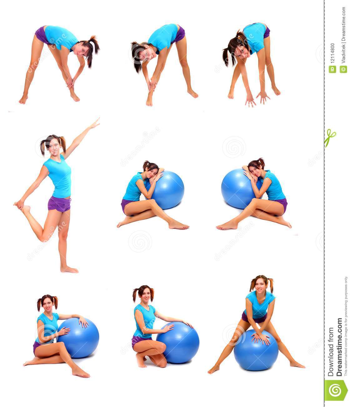 Woman in different position fitness collection active lifestyle