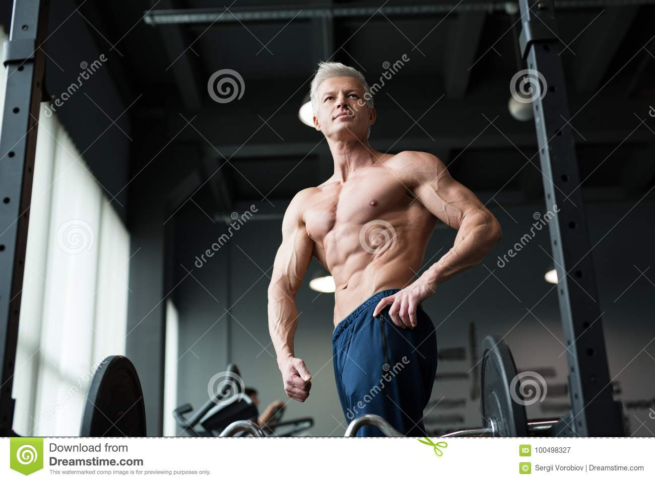 Fitness Concept. Muscular And Fit Torso Of Young Man