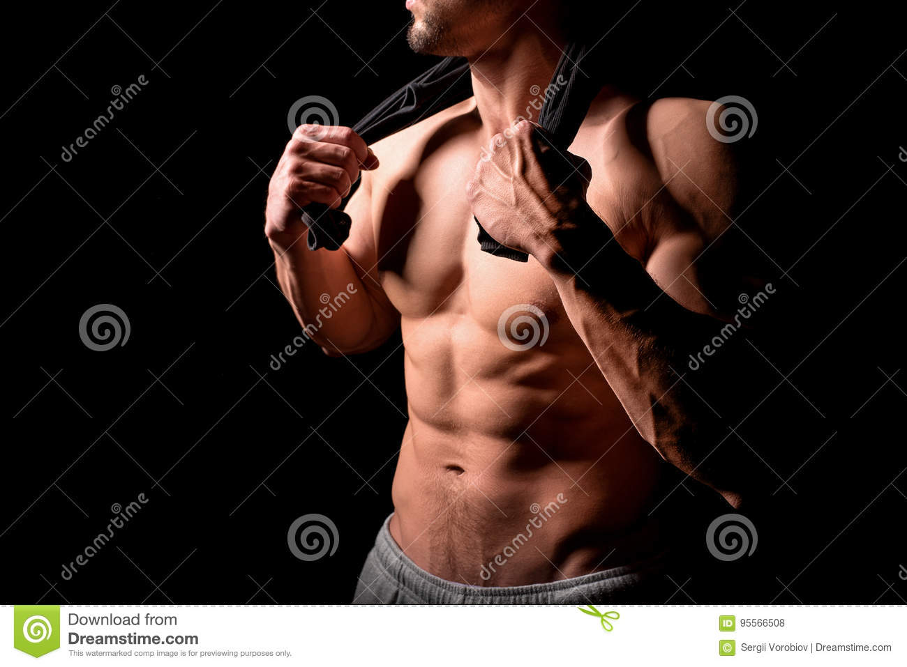 Download Fitness Concept. Muscular And Torso Of Young Man Having Perfect Abs, Bicep And Chest. Male Hunk With Athletic Body. Stock Photo - Image of pretty, chest: 95566508