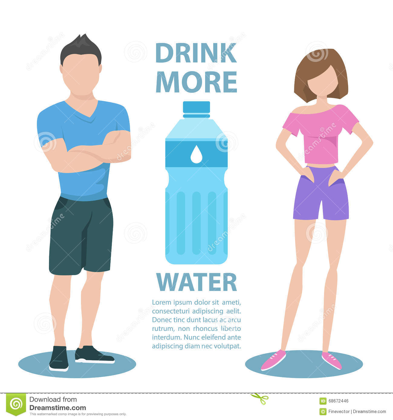 Fitness couple with inscription Drink more water. Healthy lifestyle concept.