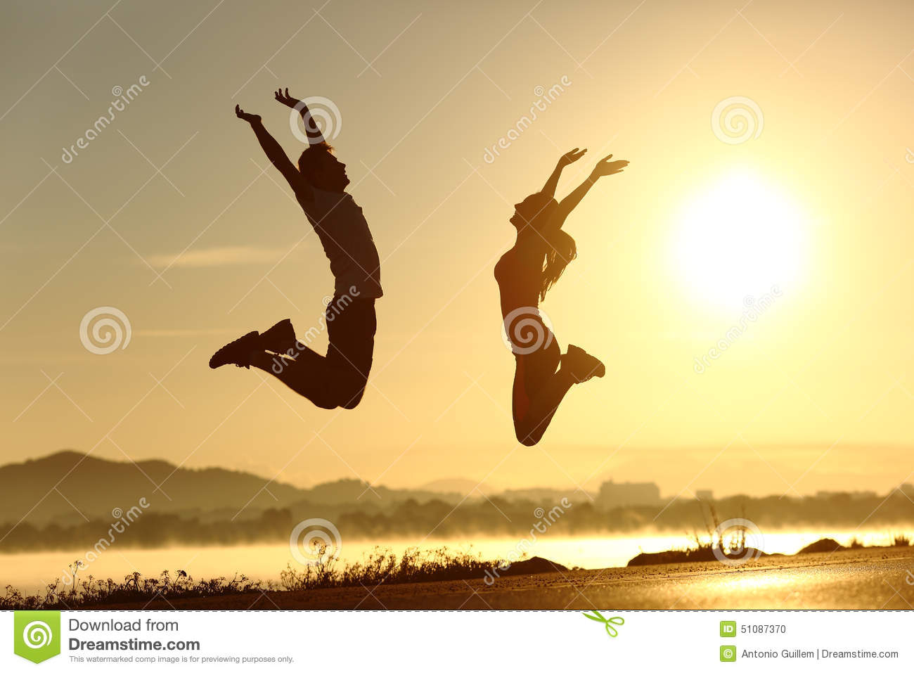 fitness couple jumping happy at sunset stock photo image man and woman clip art image man and woman clip art pdf
