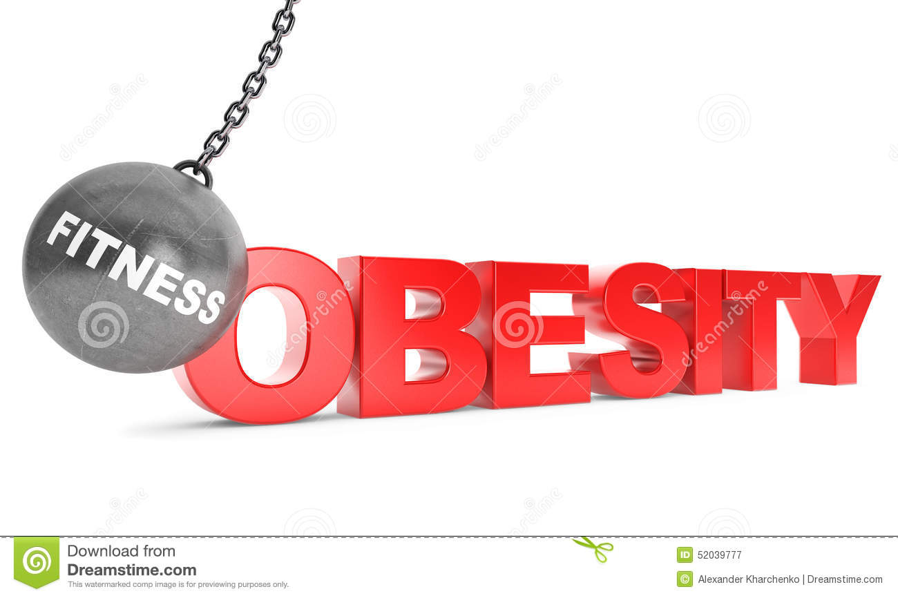 Fitness Destroy Obesity Concept. Wrecking Ball as Fitness with