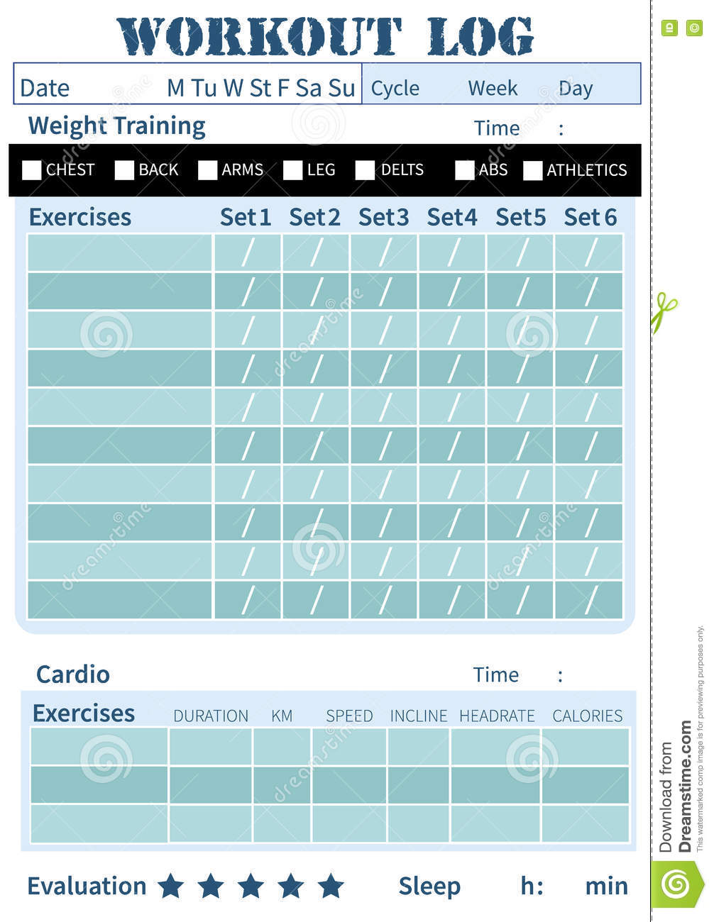 Fitness Diary, Workout Log, Training Diary Stock ...