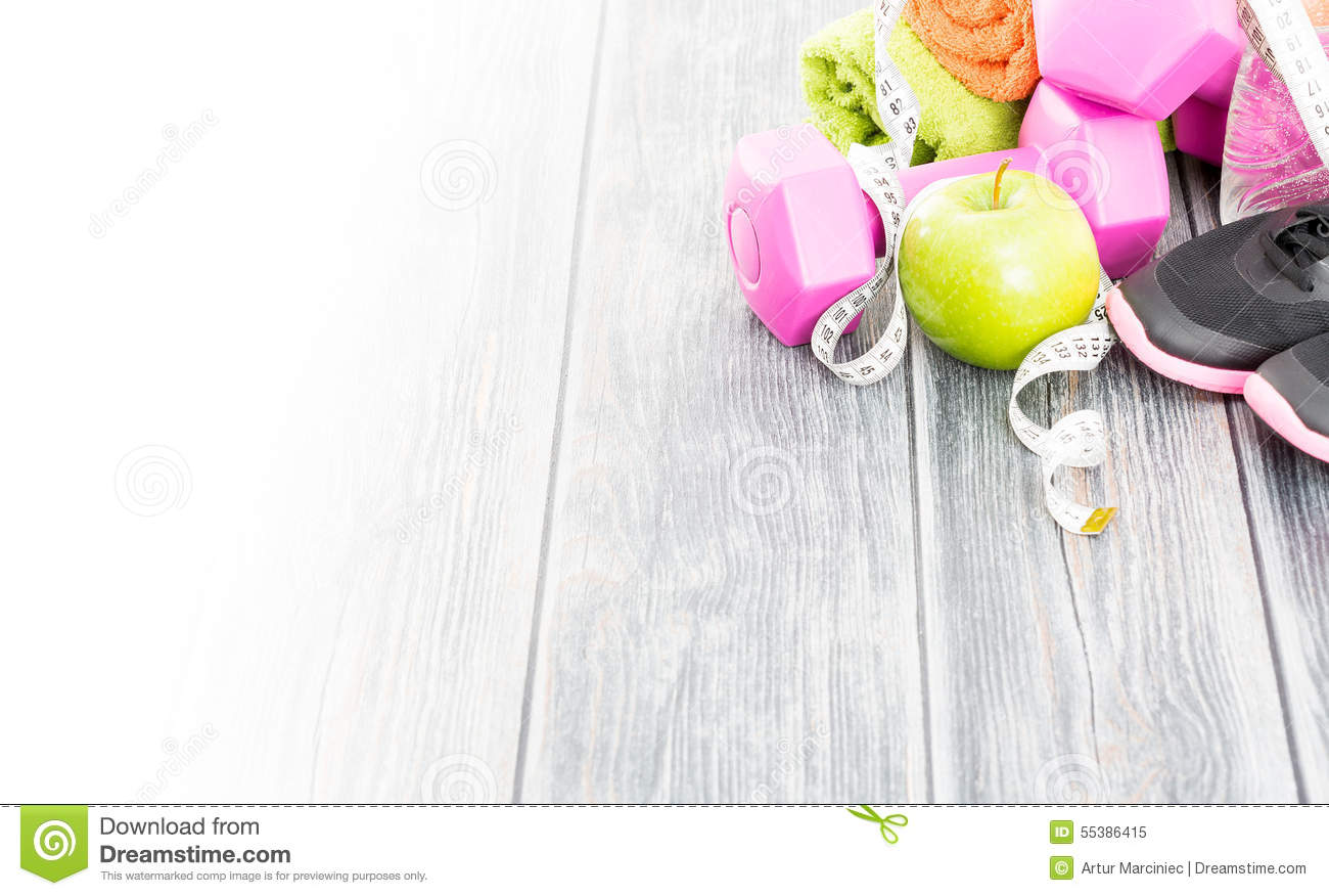 Fitness Equipment And Healthy Nutrition. Stock Image ...