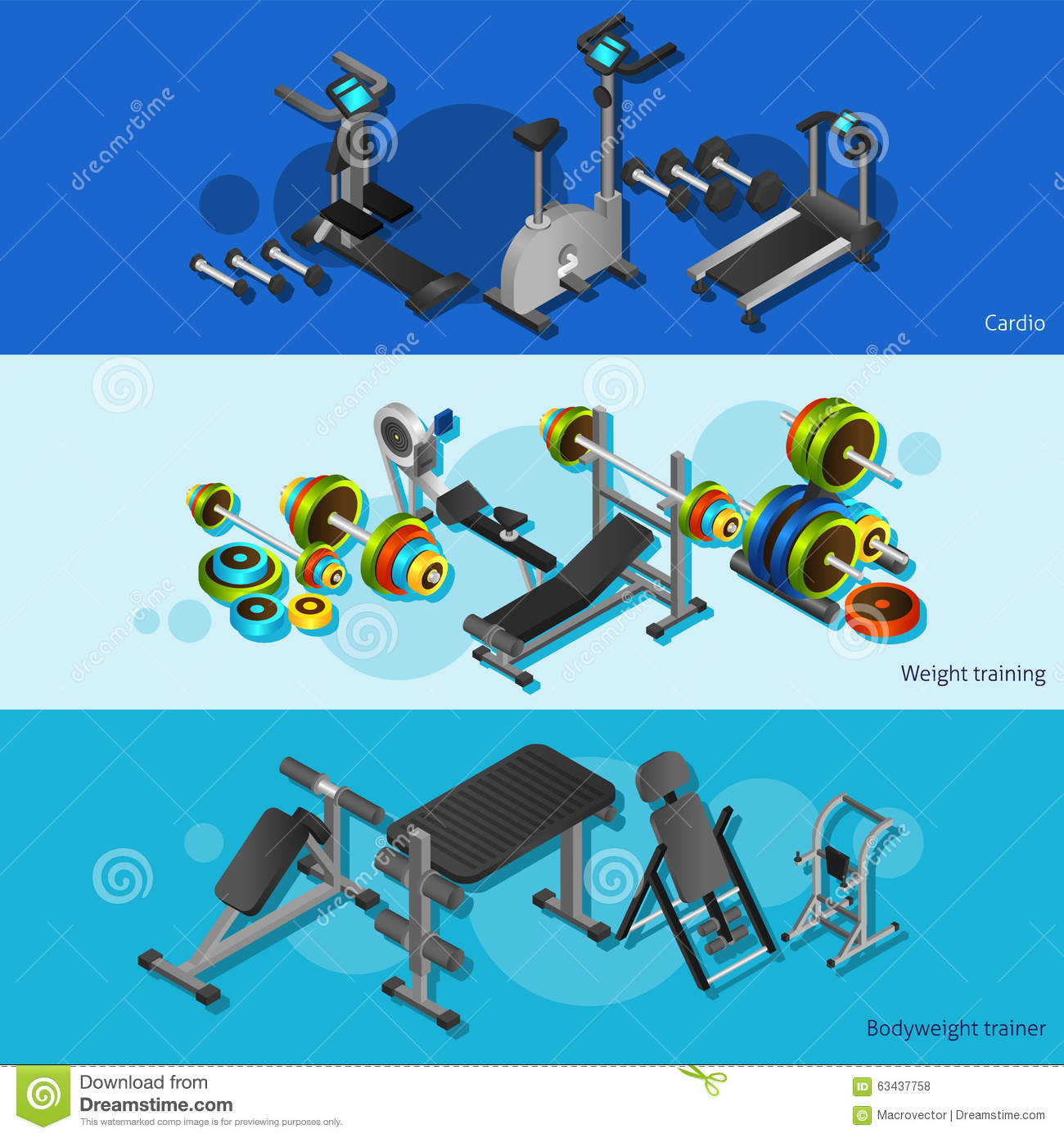 Isometric Exercises Equipment: Fitness Equipment Posters Set Stock Vector
