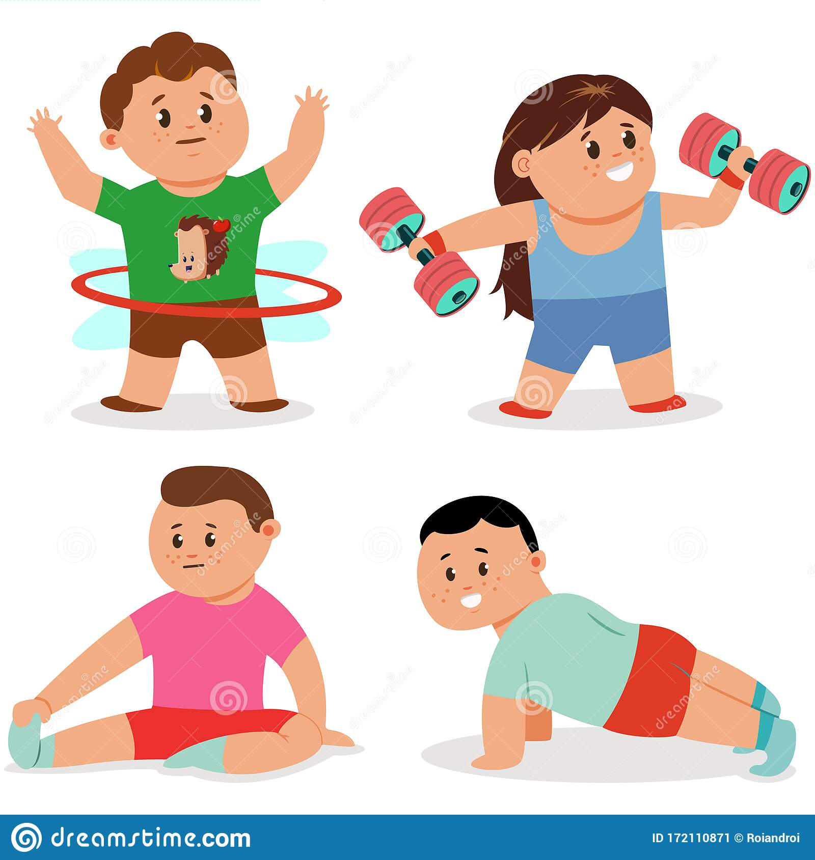 Fitness Exercise For Children Vector Set Workout Yoga And Sports Cartoon Character Stock Vector Illustration Of Clip Icon 172110871