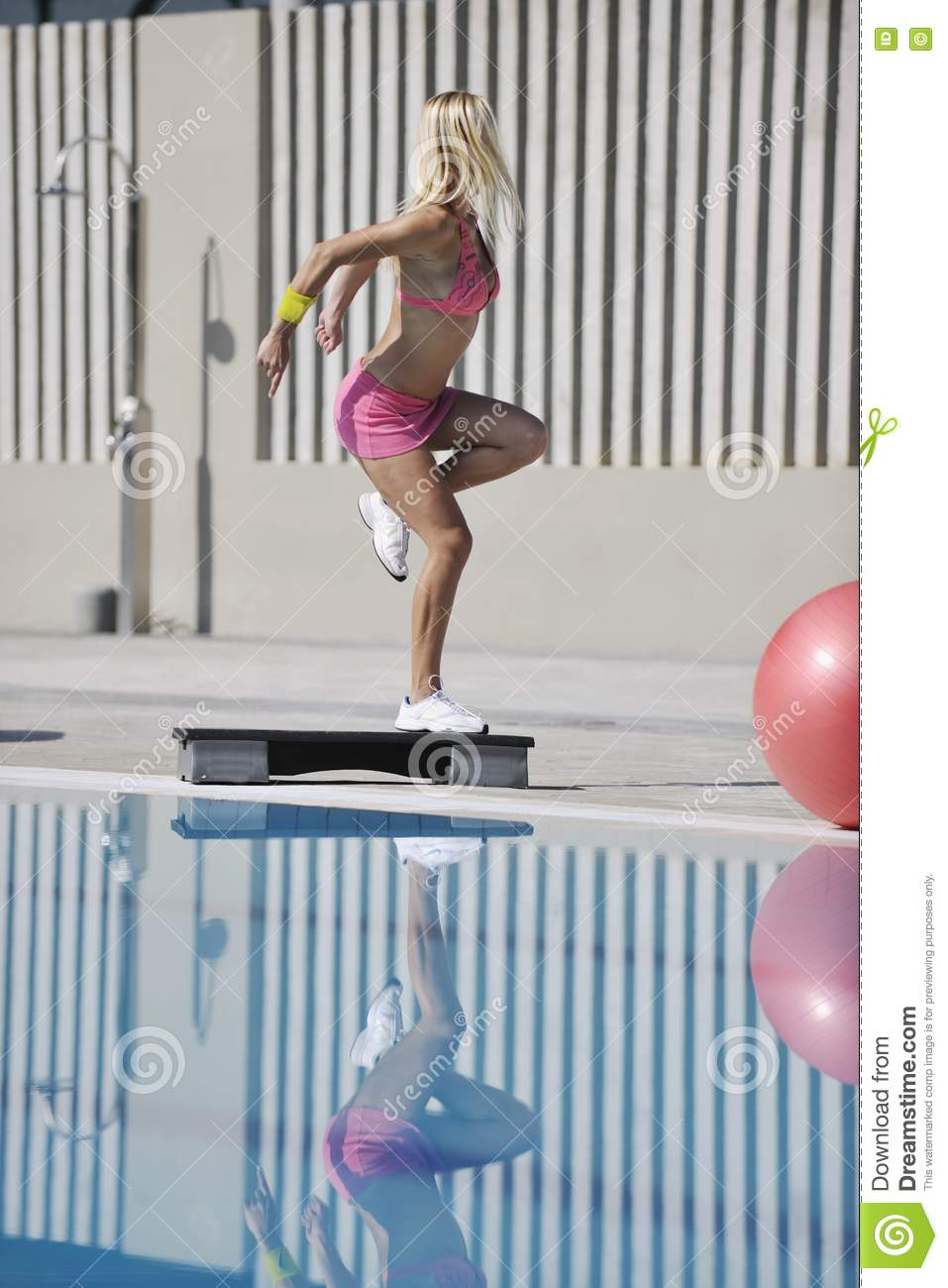Fitness exercise at poolside stock photo image 15658450 for Exercise pool canada