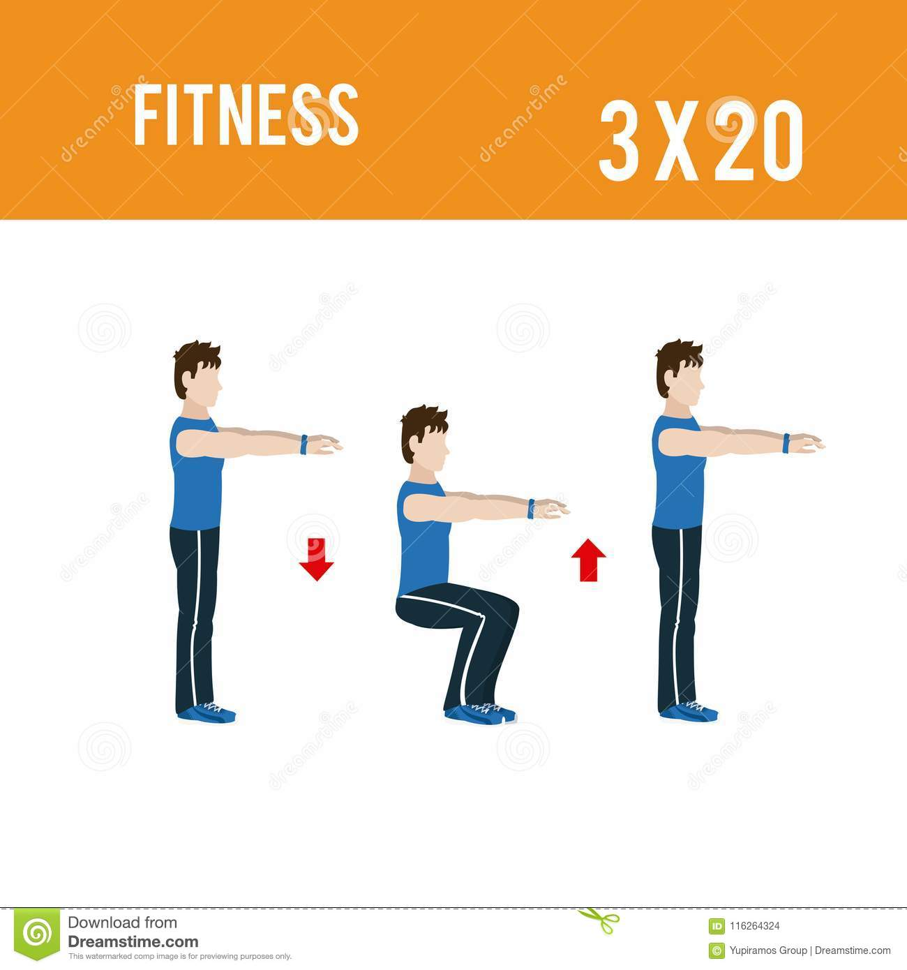 Fitness exercises series stock vector  Illustration of