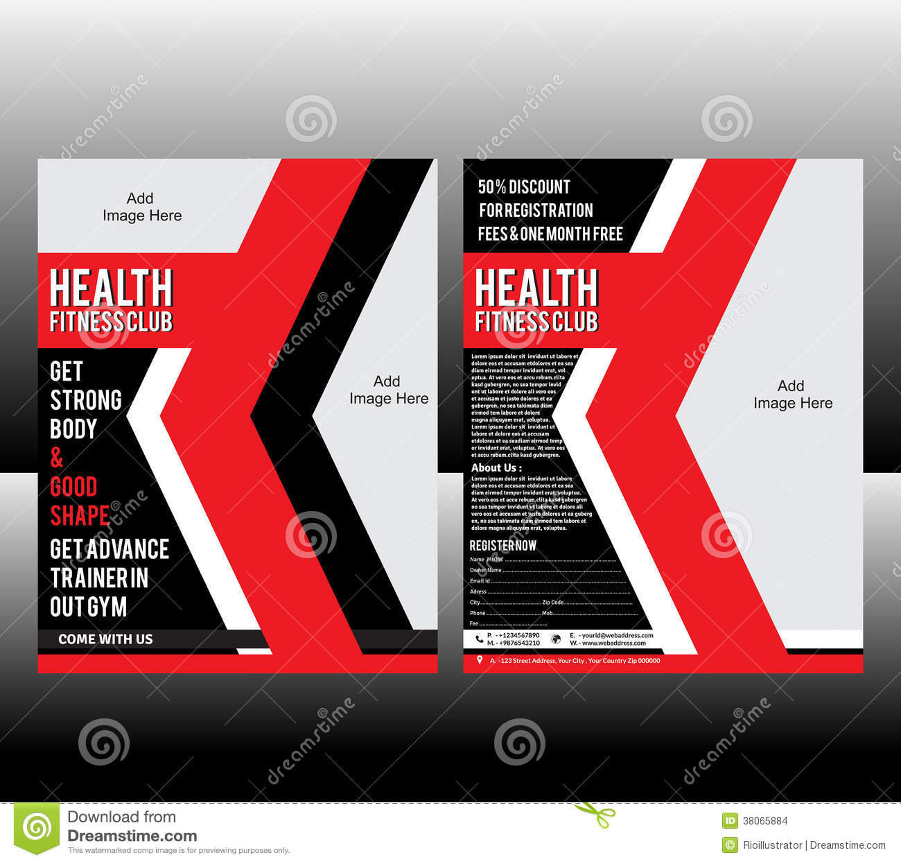 fitness flyer template stock images image 38065884. Black Bedroom Furniture Sets. Home Design Ideas