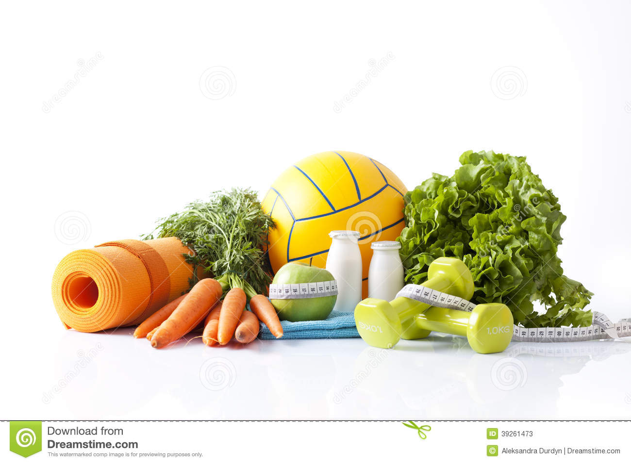 Items for healthy physical activity and health food.