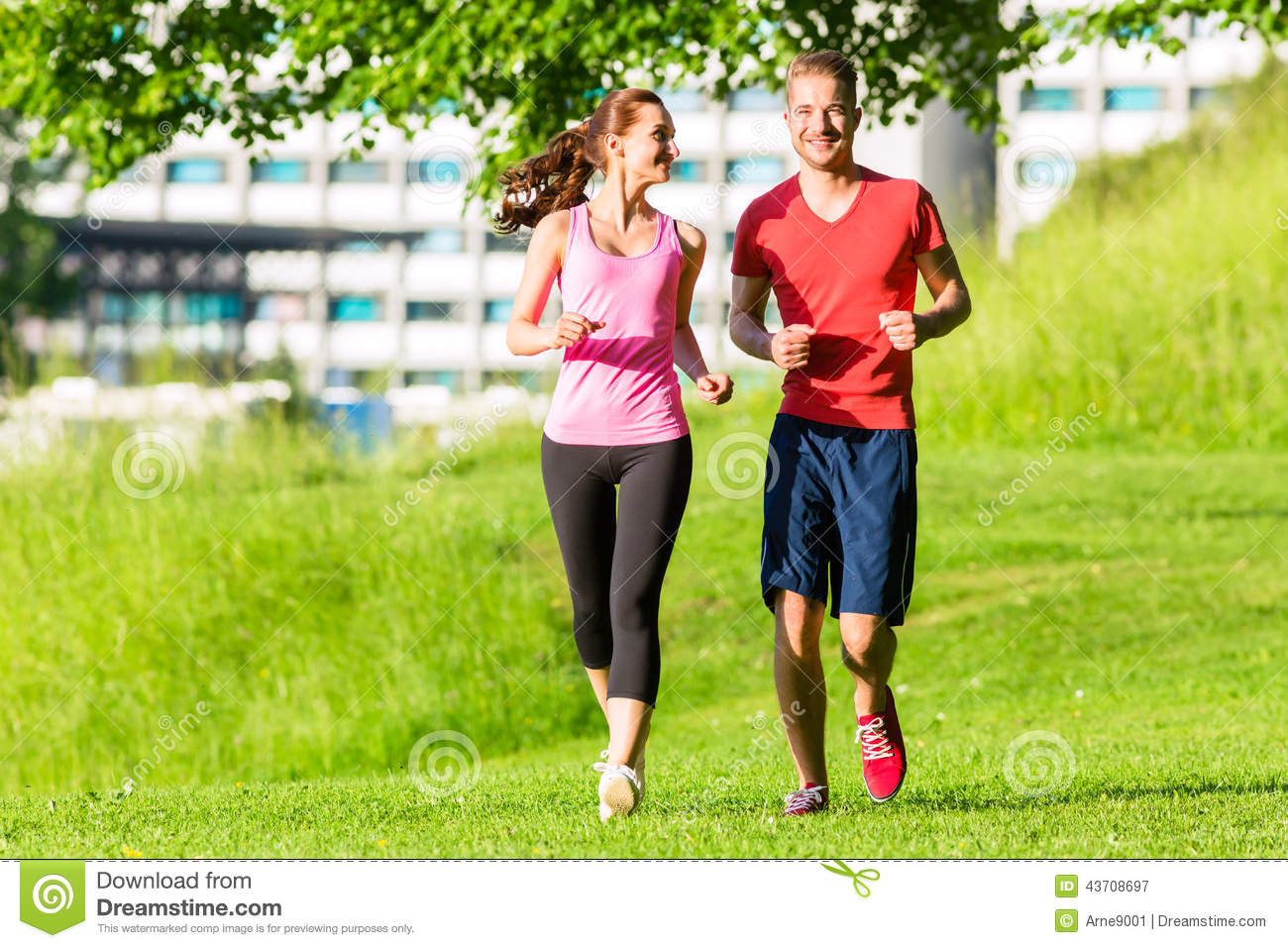 fitness friends running together stock photo image 43708697. Black Bedroom Furniture Sets. Home Design Ideas