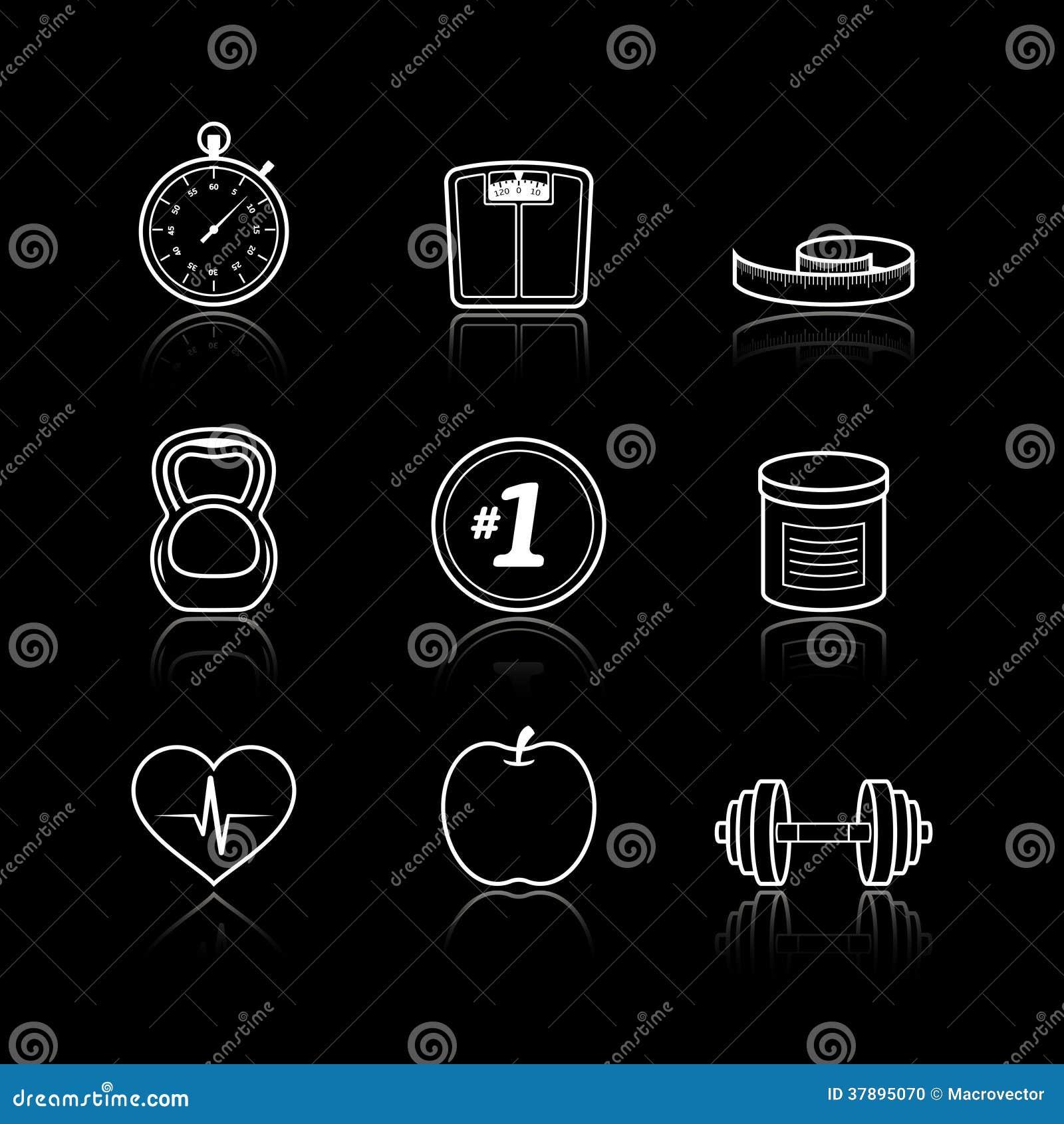 Fitness geplaatste de gezondheidszorgpictogrammen van sportwellness