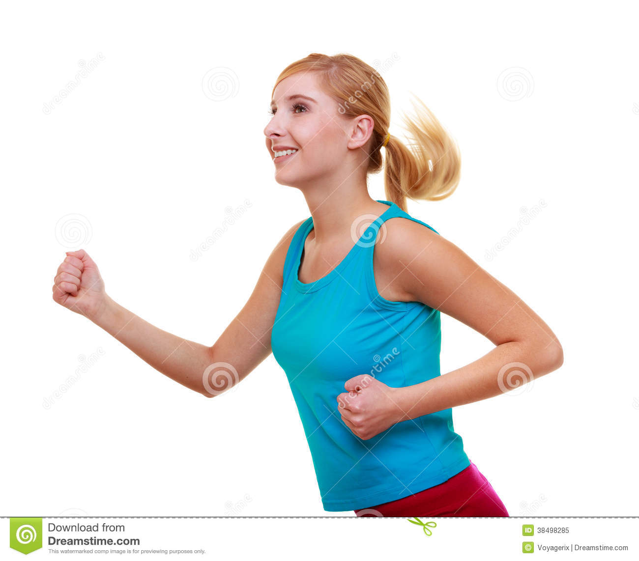 Fitness Girl Sport Woman Running Jogging Isolated Royalty ...