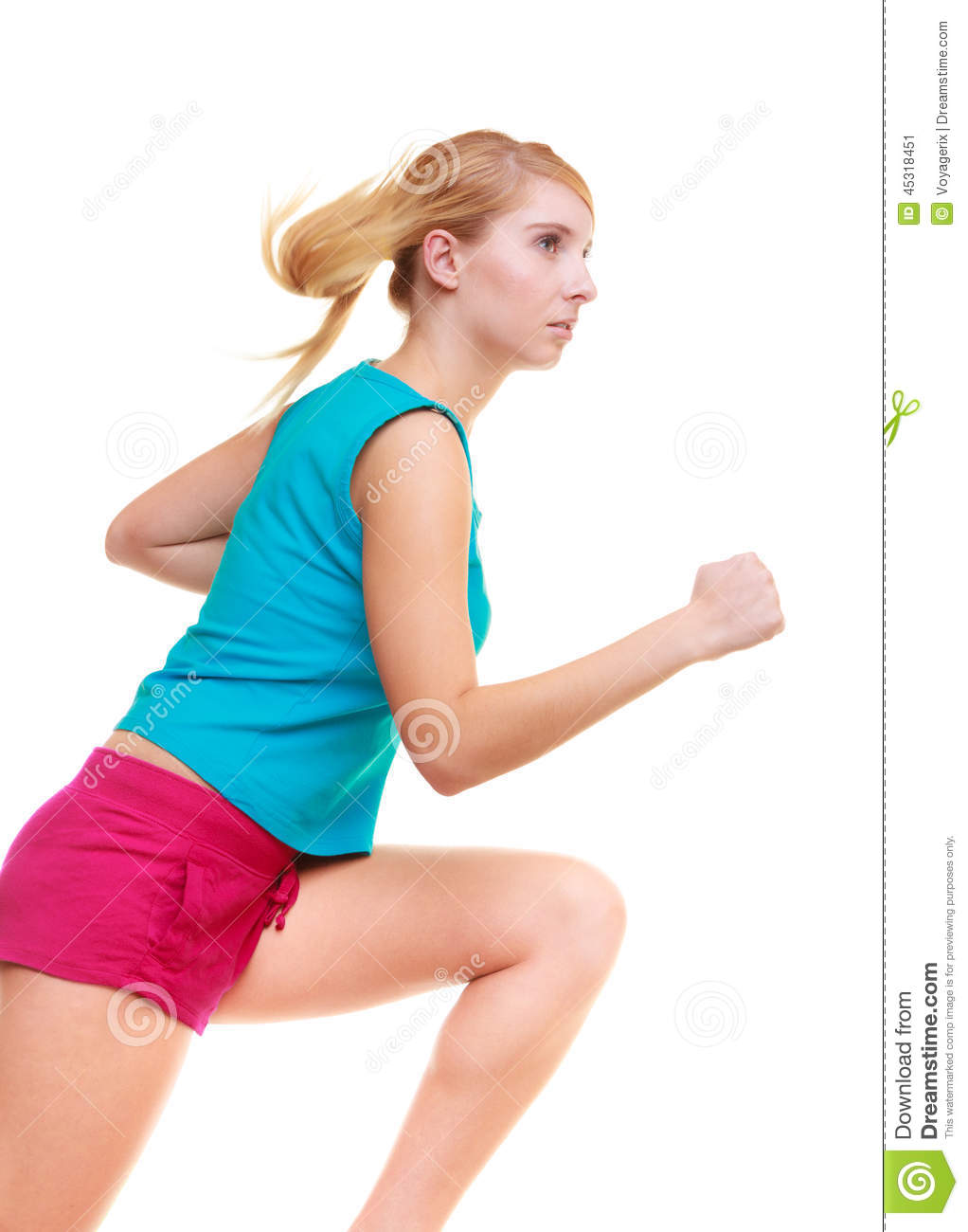 Fitness Girl Sport Woman Running Jogging Isolated Stock ...