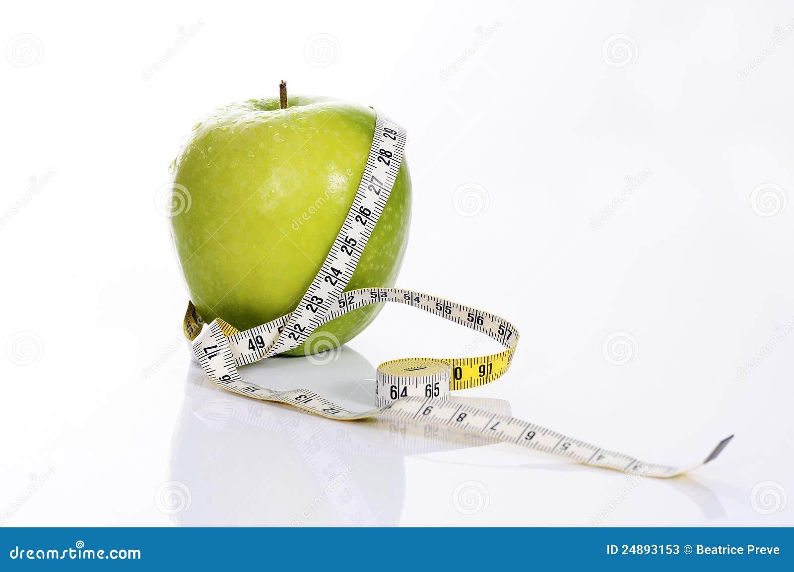 Fitness green apple stock photos image