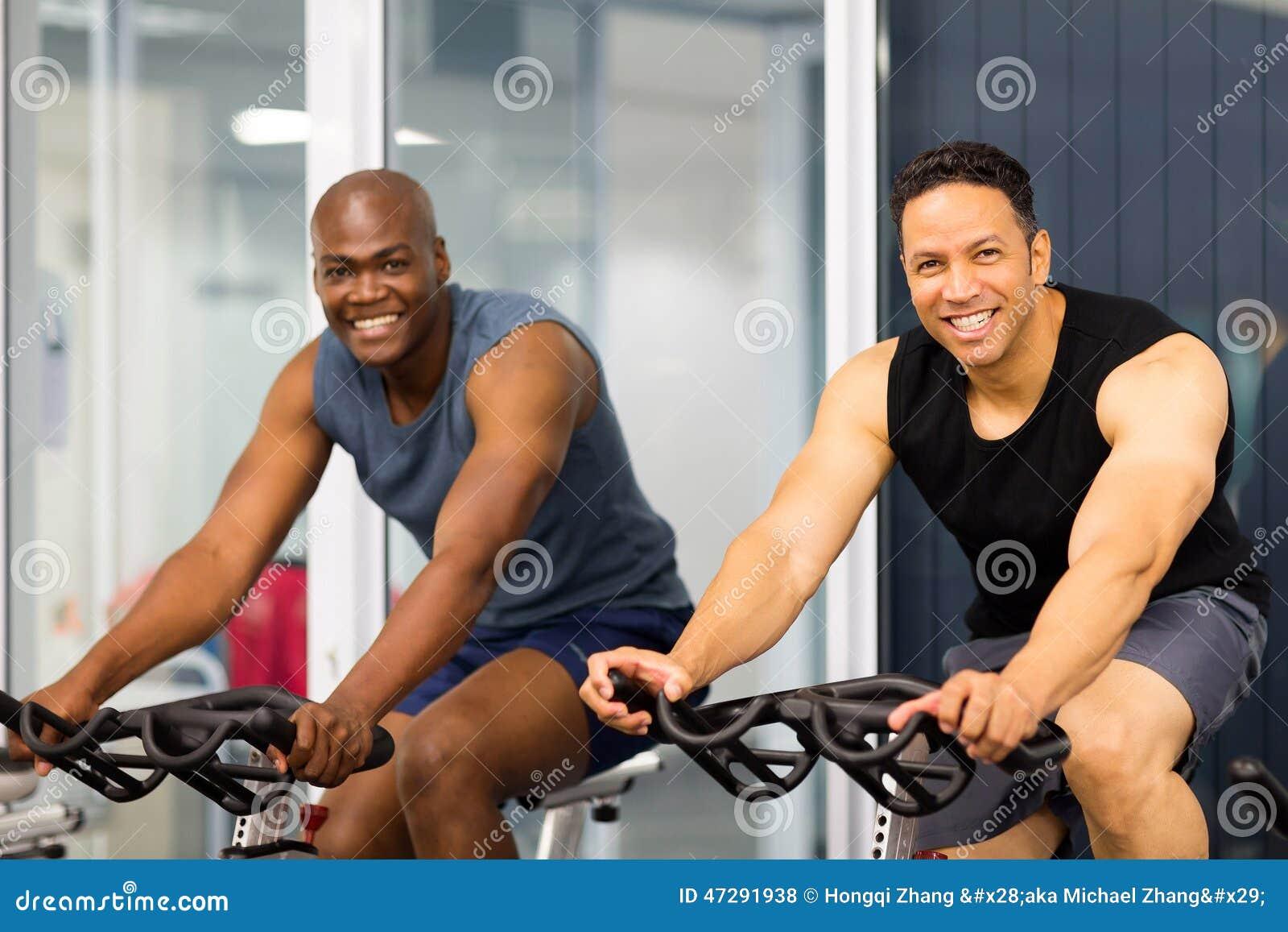 Fitness guys biking