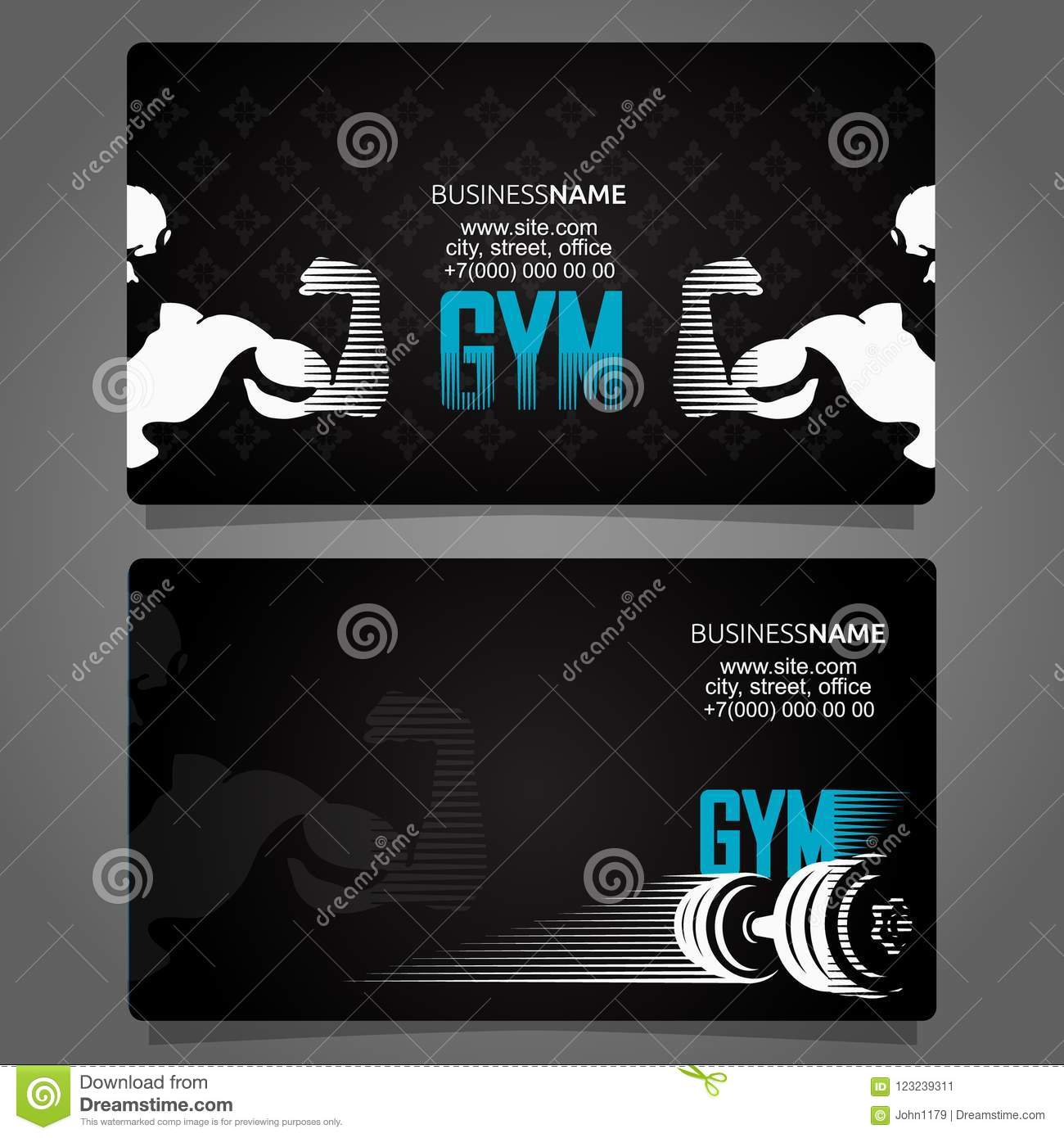 Fitness and gym business card stock illustration illustration of download comp colourmoves