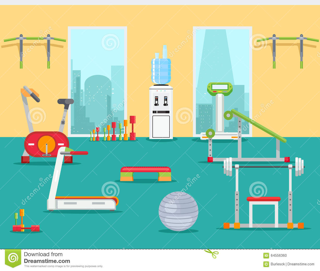 Fitness gym in flat style vector illustration stock