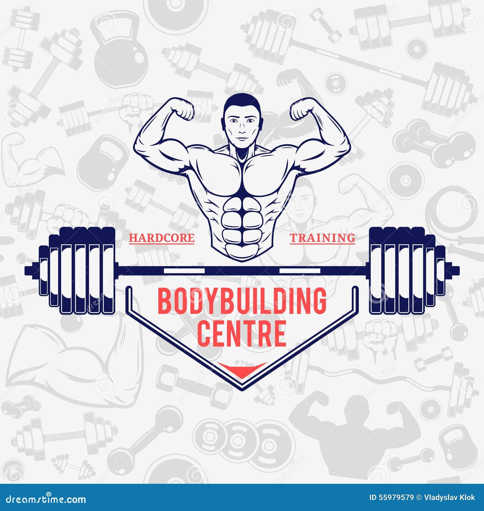 Gym Equipment Logo: Fitness Gym Logo Template Over Fitness Icons Seamless