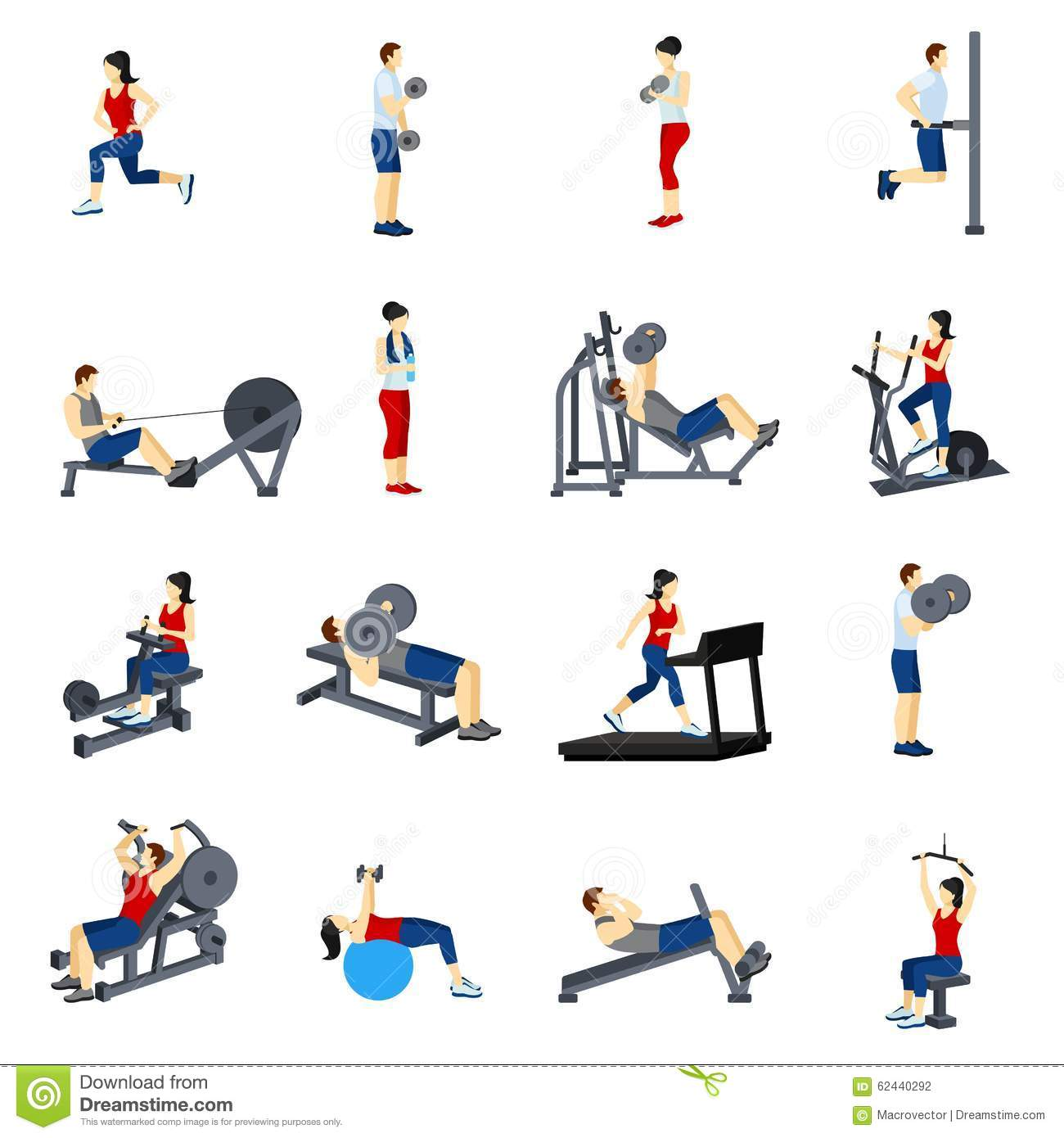 Fitness Gym Training Icons Set Stock Vector Image 62440292