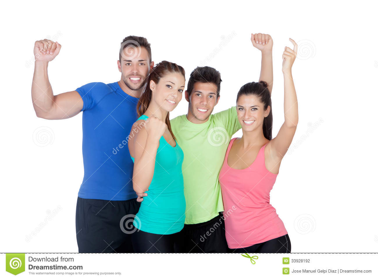 fitness happy friends celebrating something stock photography image 33928192. Black Bedroom Furniture Sets. Home Design Ideas