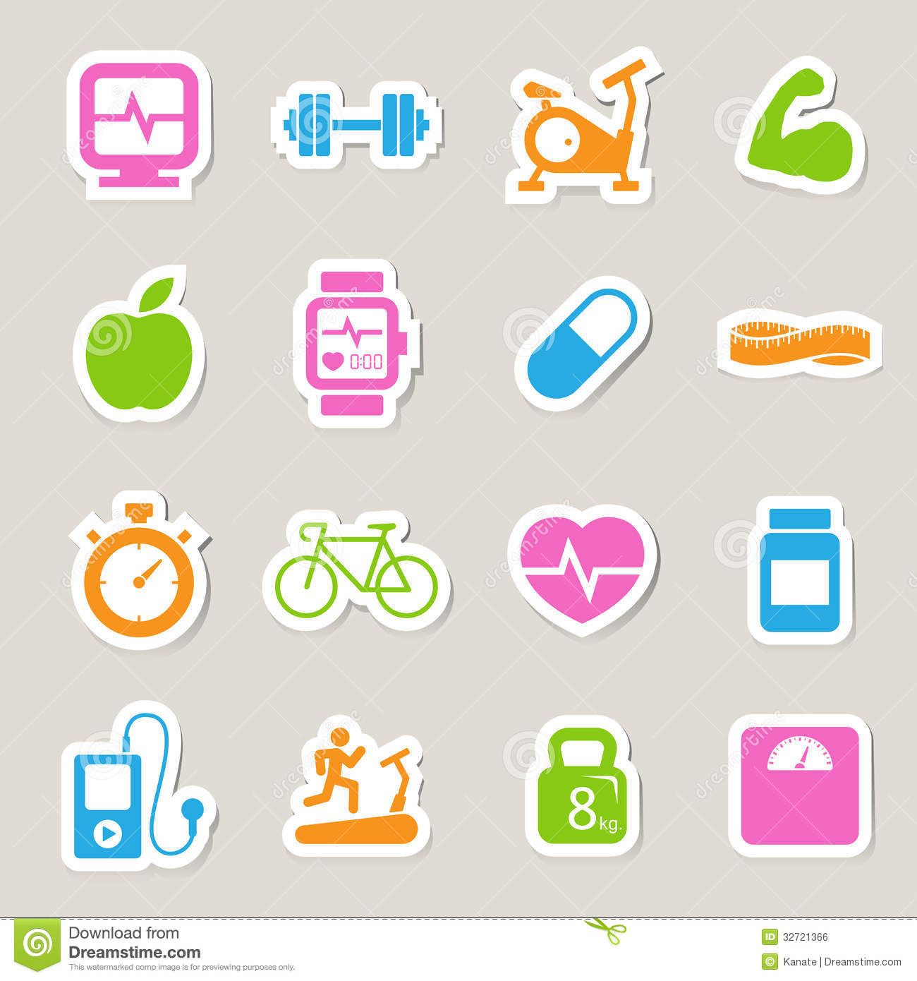 Fitness And Health Icons. Royalty Free Stock Image - Image: 32721366