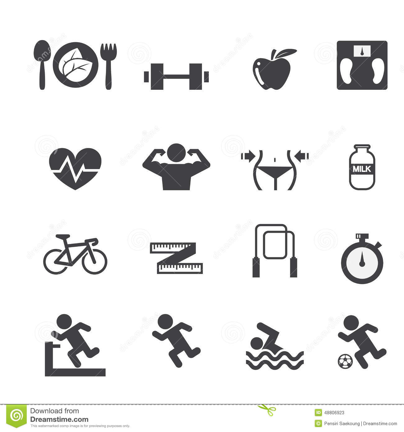 Fitness And Health Icons Set Stock Vector - Illustration ...