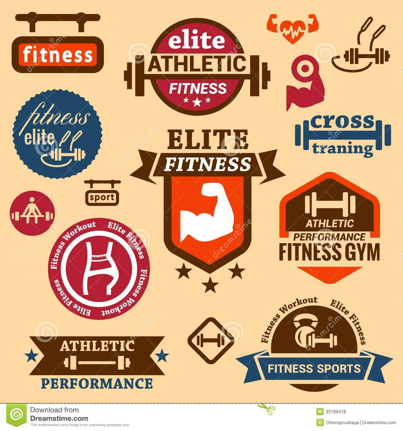 Fitness labels stock vector. Illustration of fitness - 33199418 for Fitness Logo Vector Free Download  56bof
