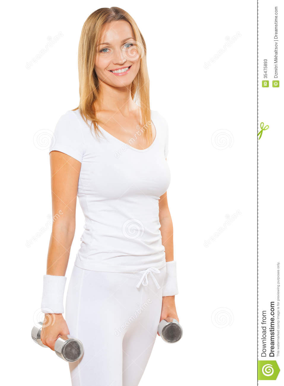 Fitness lady with dumbbels stock photos image 35475893 for Lady fitness