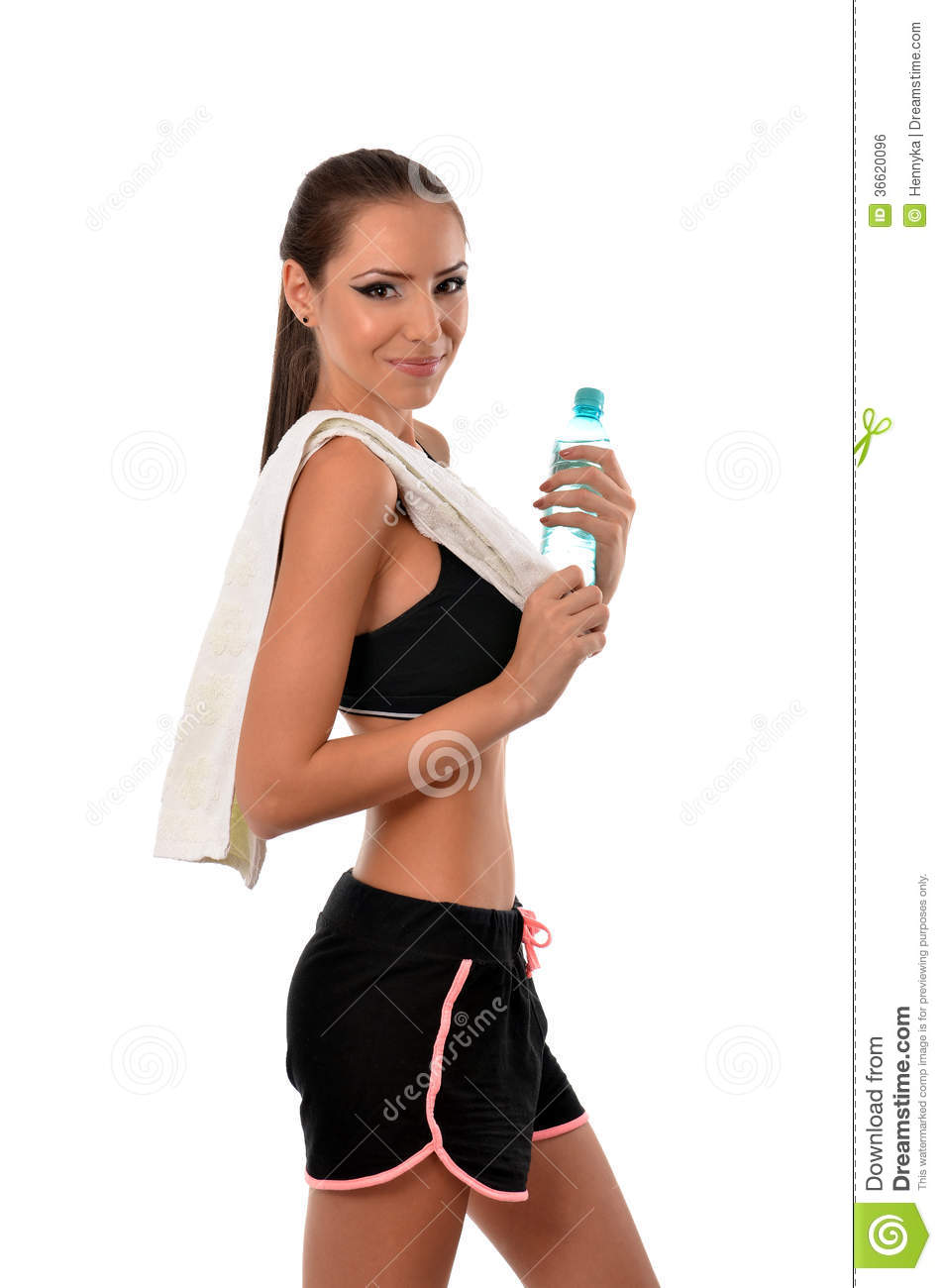 young fitness woman with bottle of water royalty free