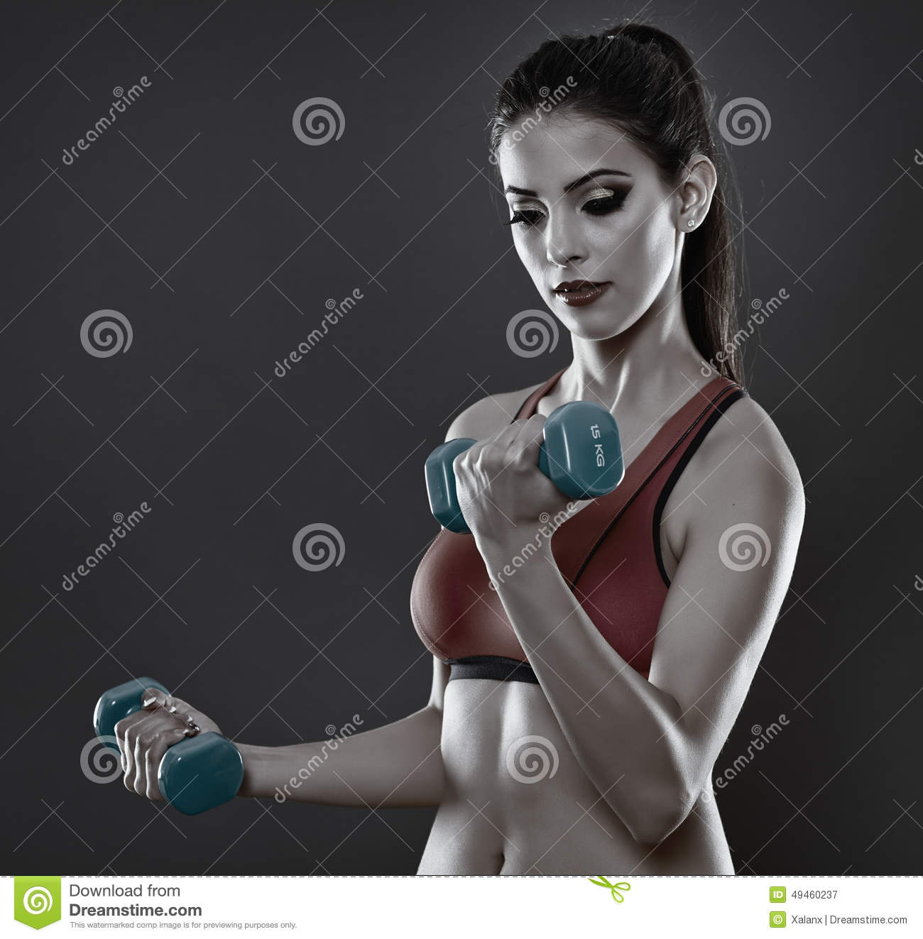 Fitness lady training with dumbbells stock image image for Lady fitness