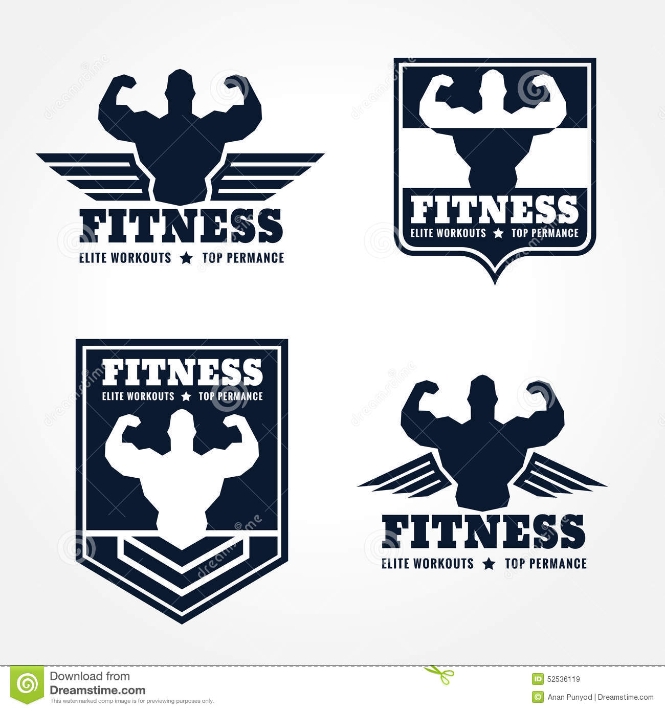 fitness logo emblems in retro style graphic design  wings and muscle blue